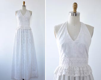 White Halter Dress XS/S • Vicky Vaughn Cotton Dress • Summer Cotton Dress • 70s Maxi Dress • Eyelet Dress • Cotton Summer Dress |D1209