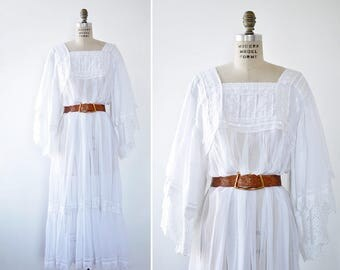 White Cotton Dress • Angel Sleeve Dress • Vintage Maxi Dress • Lace Maxi Dress • Tent Dress • Gauze Dress • Vintage White Dress | D1211