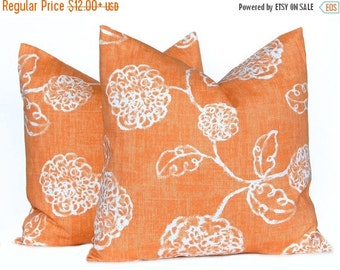 15% Off Sale Fall Pillow Covers - Orange and White Pillow Covers -  Autumn Decor - Thanksgiving Decor - Orange Cushion Covers - Floral Pillo