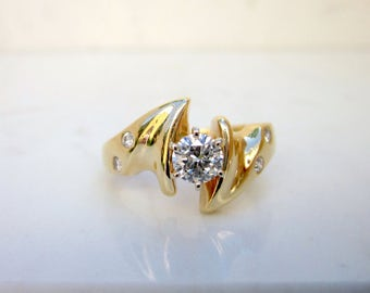 Retro Ecletic 1980's 14k Yellow Gold Diamond Solitaire Engagement Ring with Diamond in laid Accents, Size 6