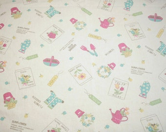 """Rare Yuwa Vintage Style """"Fruit and Flower Garden"""" by Atsuko Matsuyama New Out-of-Print Fabric -  1 Yard by 54 Inches Wide"""