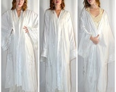 Vintage Spectacular White Embroidered Cotton Caftan With Wide Woven Border and Metallic Silver Threads L/XL