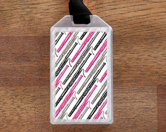 Bassoon Instrument Case ID Tag or Luggage Tag for Musicians - Pink and Black