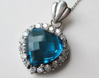 Vintage Sterling Silver Heart of the Ocean Blue Crystal Necklace Pendant & Chain