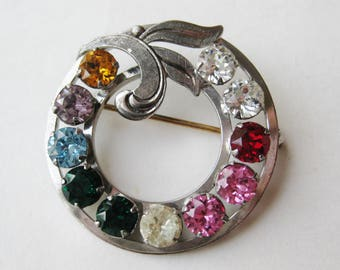 Vintage 40s Sterling Silver Jeweled Rhinestone Van Dell Round Brooch Pin