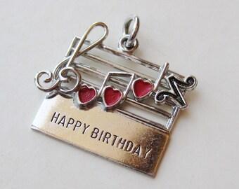 Vintage Charm Sterling Silver Enamel Happy Birthday Song Music Note Bracelet Charm