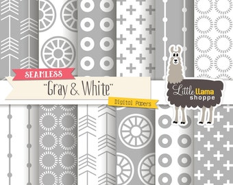 Gray & White Digital Paper Pack, Seamless Scrapbook Paper, Geometric Patterns, 12 x 12, Commercial Use, Tileable