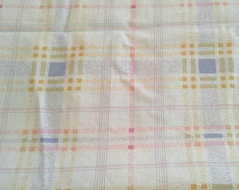 Light Colored Plaid Blue, Orange, White 2 3/4 Yards Cotton Fabric X0710