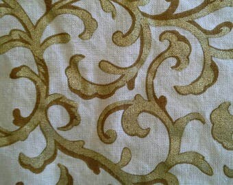 White and Gold Patterned Cotton Fabric Reclaimed 3 Yards X0797