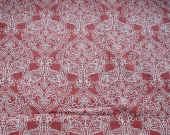 Coral color Cotton print fabric  Folklore pattern of Joann fabrics