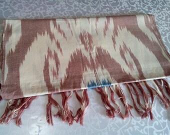 Uzbek handwoven cotton ikat scarf. SC021