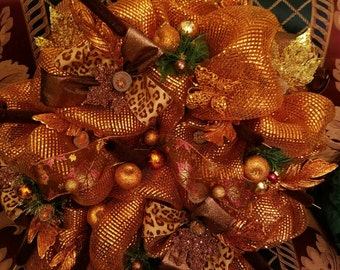 Deco Mesh Autumn Fall Thanksgiving Wreath - Beautifully embellished and crafted by hand