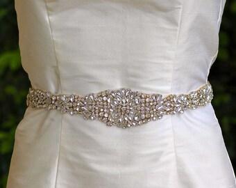 Gold Crystal Belt, Full Length Bridal Belt, Gold & Crystal Sash, Wedding Dress Belt, Ceinture de Mariée, AMOUR G LONG
