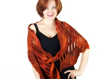 Wool Shawl Orange Felted Scarf Orange Wool Scarf Rustic Scarf Silk Orange Scarf