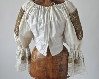 Czech o Slovakian Blouse Antique White Cotton Puff Sleeved Folk Costume Gold Metallic Embroidery Hand made Lace
