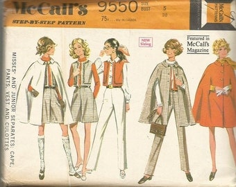 Vintage McCall's 9550 Cape, Vest, Pants, Culotte Pattern SZ Junior  5