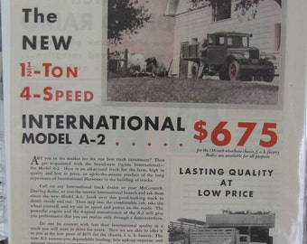 1931 International Harvester Truck 1.5 Ton Model A2 Original Ad