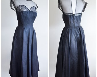 1940s Black satin illusion lace neckline evening dress / 40s sweetheart neck sequin tulle pleated party dress - XS S