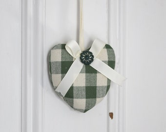 Fabric heart to hang Canadiana Green and Ivory Plaid Rustic Ornament Door hanger Gift Decoration