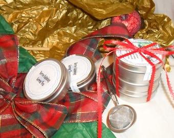 Herb Tea Tower Package, set of five, herbal tea tins, ribbon, gift package
