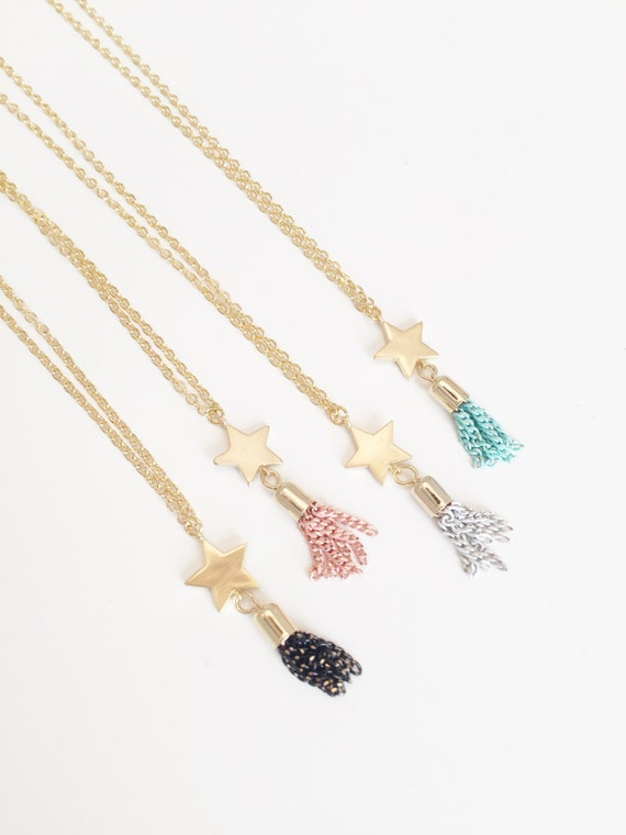 Gold Shooting Star | Gold Star Necklace | Tassel Necklace | Christmas Gifts For Her | Gifts For her