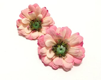 2 Large REAL FEEL Pink Zinnias - Silk Flowers, Artificial Flowers, Flower Crown, Millinery, Wedding Flowers, Hair Accessories, Wreath, Hat