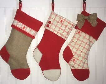 Christmas Stockings Vintage Red Wool and Burlap Set of 3 Coffee Lovers Upcycled Coffeepot Barista