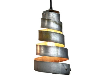 "CORBA  - ""Manacle"" - Pendant Light Black Wine Barrel Ring Light - 100% Recycled"