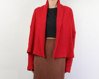 VINTAGE Cropped Sweater Red Cardigan