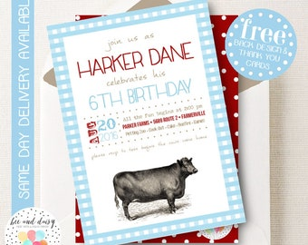 Farm Invitation, Farm Birthday Invitation, Farm Birthday Party, Farm Party Invitation, Farm Baby Shower, BeeAndDaisy
