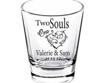 Personalized Shot Glasses, Wedding Favors, Wedding Shot Glasses, Two Souls One Heart Shot Glasses, Custom Shot Glasses, Shot Glasses