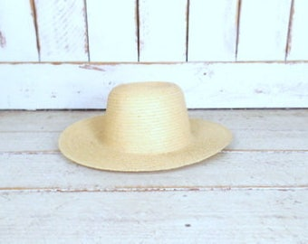 Vintage tan brown woven straw sun hat/gardening farming hat/straw sun hat/Mexican straw hat