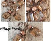 SALE NEW BD907hp Victorian Style flat square Honey Peach crystal and rhinestone pendant dangle drops 2 pcs