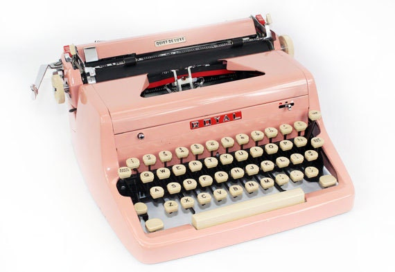 Pink Typewriter Royal Quiet De Luxe Manual with Case: Fully Serviced Working Typewriter