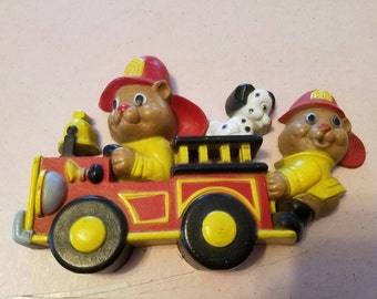 Vintage Wall Hanging Fire Truck Fire Bears Dalmatian 1990 Plastic Boys Room Decor Made in the USA
