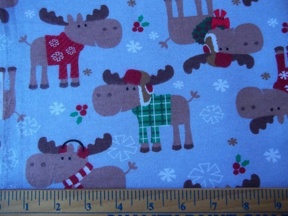 Christmas moose cotton flannel flannel fabric moose for Children s flannel fabric by the yard