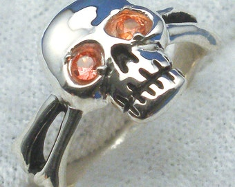 Orange Sapphire Eyes, Skull and Cross Bones Ring, Hand Crafted Recycled Sterling Silver Pirate Ring, handmade Jolly Roger