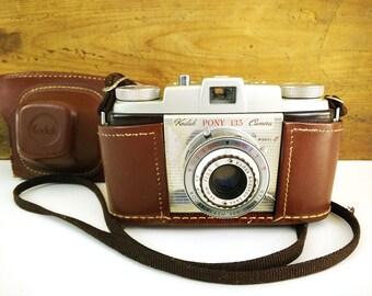 Kodak Pony 135 Camera Model C with Leather Case, untested