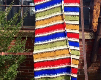 Vintage crocheted blanket, colorful striped vintage blanket, vintage crocheted throw, vintage afghan, twin full  blanket quilt