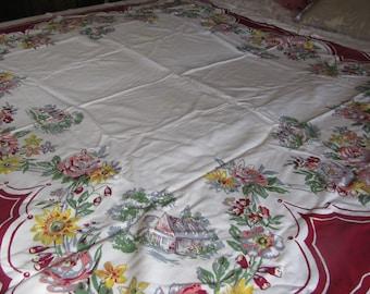 Vintage Cotton Printed Tablecloth Beautiful Retro Linens Mid Century 1940s Kitchen Fiber