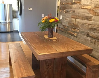4 foot farm table with benches