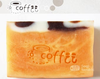 SoapRepublic Coffee Acrylic Soap Stamp / Cookie Stamp / Clay Stamp