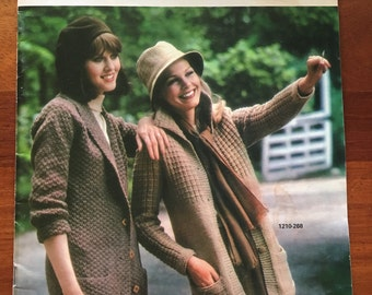 Bernat Sweater Coats Hip Length or longer Book No. 268 Knit Patterns 10 designs from 1980
