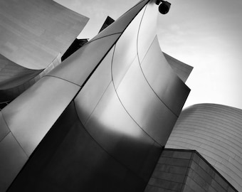 Photographic Print, Curved Steel Modern Architecture, Walt Disney Concert Hall, Los Angeles - Black and White Photo