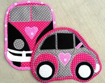 vw, camper, car, hot pad, pot holder, pink, gray, black, quilted, van, camping, kitchen, cooking