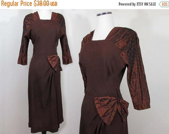 SALE 25% off - Brocade & Rayon Jersey Dress - 1940s Collingwood Brown and Copper dress - S-M