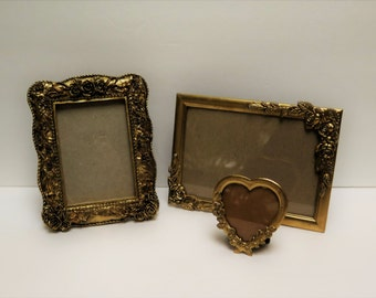 3 Ornate Gold Roses and Heart Picture Frames Easel backs to stand on table top
