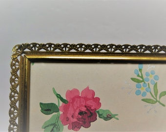 Delicate Filigree 8 x 10  Brass Picture Frame Ornate Mid Century Frame