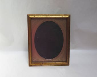 Vintage Gold Wood picture frame holds  oval insert for 5 x 7 photos easel back