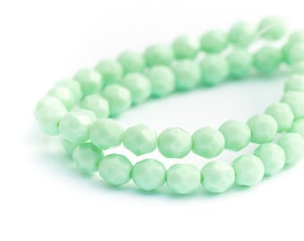 WE'RE BACK! Mint Green Opaque Faceted Round Spacers, Pale Jade Fire Polished Czech Glass Beads, 6mm x 25pc (0017)